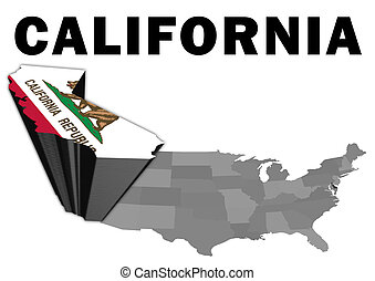 California - Outline map of the United States with the state...