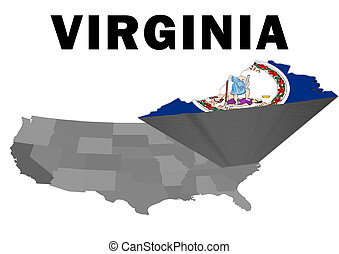 Virginia - Outline map of the United States with the state...