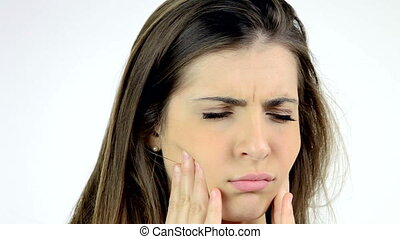 woman with strong teeth problem - Young beautiful woman with...
