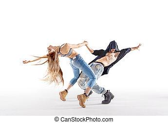 dos, talentoso, bailarines, Practicar, juntos,