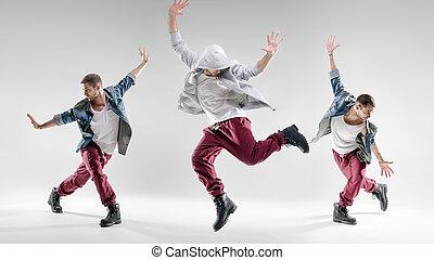 retrato, de, Un, talentoso, bailando, tipo,