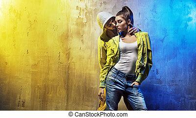 sensual, retrato, de, Un, joven, pareja, de, bailarines,