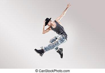 Moda, tiro, de, Un, joven, cadera, salto, bailarín,