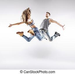 talentoso, cadera-salto, bailarines, Practicar, juntos,