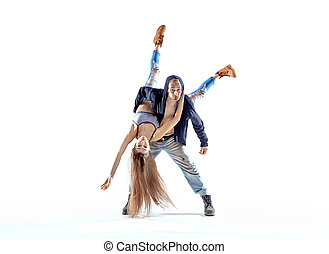 Strong hip-hop guy carrying his dance partner - Strong...