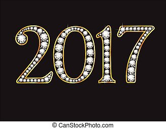 2017 in Diamond Jeweled Font - 2017 in stunning Diamond...