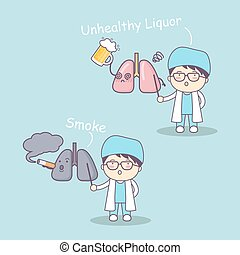 cute cartoon doctor and lung,great for health care concept