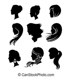 woman silhouette with hair styling - vector set of woman...