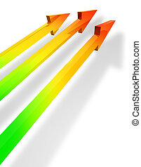 Parallel arrows - Three colorful arrows showing development