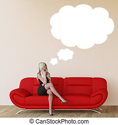 Woman with Thought Bubble in 3d - Woman with Thought Bubble...