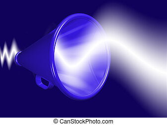 Megaphone amplifying voice - Megaphone shouting and...