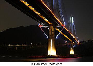 Ting Kau Bridge at night, in Hong Kong