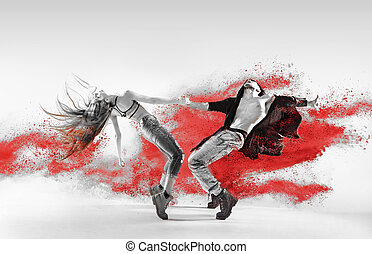 Blac&white portrait of talented hip hop dancers - Blac&white...
