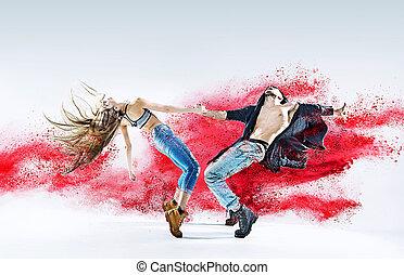 conceptual, imagen, de, Un, bailando, pareja,