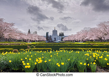Oregon State Capitol Building with Spring Flowers - Oregon...