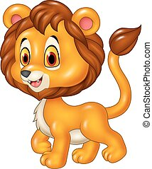 Cute baby lion walking isolated
