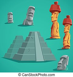 Set isolated elements of stones, statues, pyramids - Vector...
