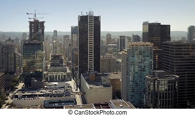Downtown City Area In The Sun - Wide shot of central urban...