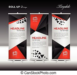 Roll Up Banner template vector illustration polygon background