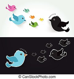 different Set of cute birds flying