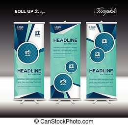 Blue Roll Up Banner template vector illustration,polygon...