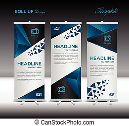 Blue Roll Up Banner template vector illustration polygon...