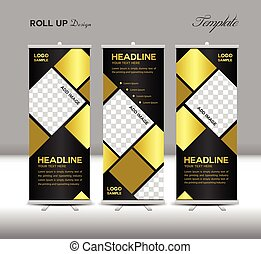 Gold and black Roll Up Banner template vector illustration...