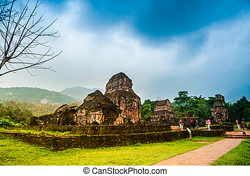 Ancient Hindu tamples of Cham culture in Vietnam near the...