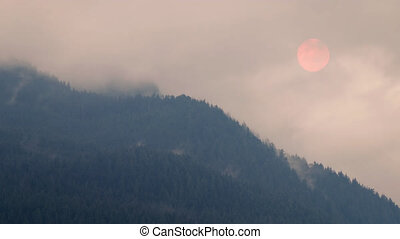 Forest Fire Smoke Makes Sun Pink - Smoke from a forest fire...