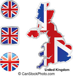 flag of great britain in map and web buttons shapes - fully...