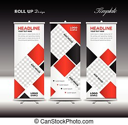 Red Roll Up Banner template vector illustration polygon...