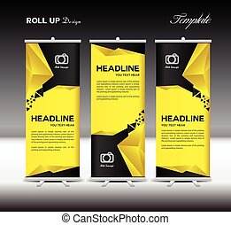 Yellow and black Roll Up Banner template vector illustration