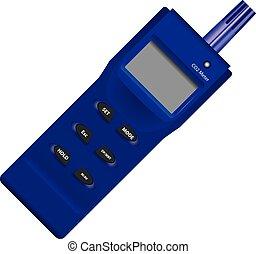 Industrial dioxide meter with digital display. Vector...