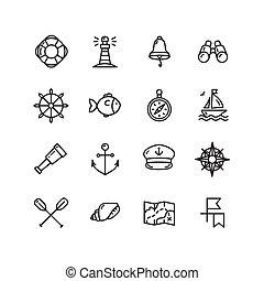 Nautical Sea Icon Set. Vector