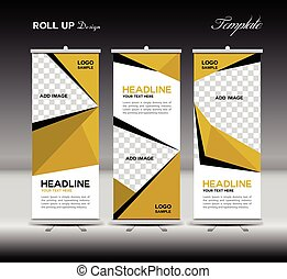 Yelllow Roll Up Banner template vector illustration polygon...