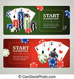 Poker Casino Banner Set. Vector - Poker Casino Horizontal...