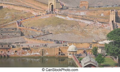 Tourists in Amber fort - JAIPUR, INDIA - NOVEMBER 19, 2012:...