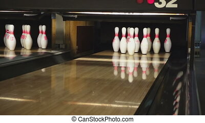 Bowling pins in the bowling club - NOVOSIBIRSK, RUSSIAN...