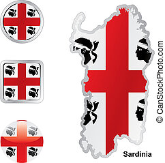 flag of sardinia in map and web buttons shapes - fully...