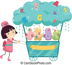 Stickman Kid Girl Cotton Candy Cart - Stickman Illustration...