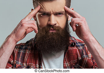Young bearded man - Handsome young bearded man in casual...