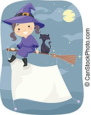 Stickman Kid Girl Night Witch Banner