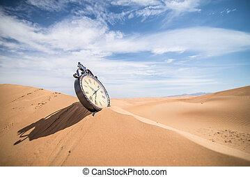 Antique clock in the desert