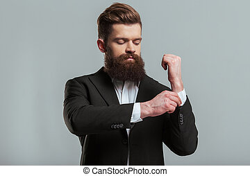 Young bearded businessman - Handsome young bearded...