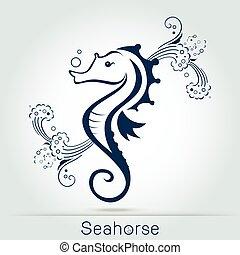 seahorse with wave and sponge, monochromatic. Vector...