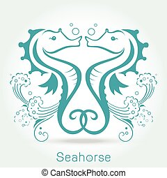 Twin seahorse with sponge, monochromatic. Vector...