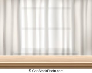 table and curtain background - Wooden table surface...