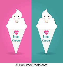 Love Ice Cream Logo on two color ways background