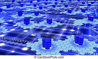 Hexagon supercomputer network on blue with white nodes and...