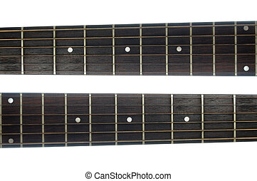 Guitar Neck - Abstract closeup of a guitar neck isolated on...